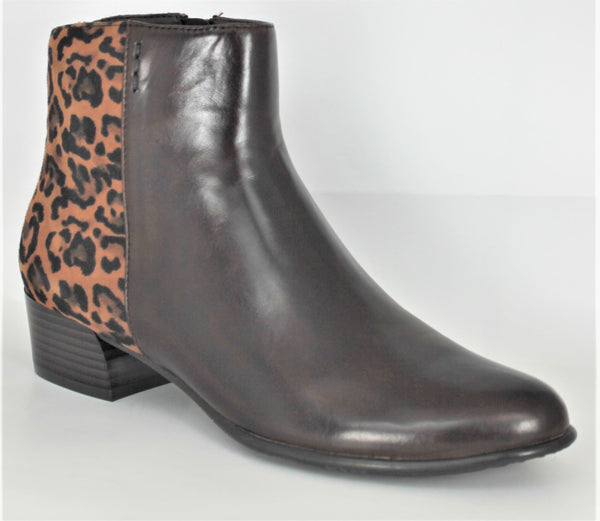 Betty Low Block Heel Ankle Boot With Animal Print Heel
