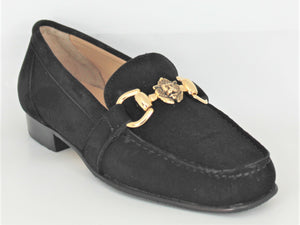 Suede Leather Low Heel Loafer With Gold Trim