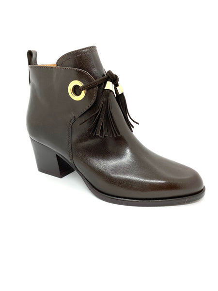 Mid Heel Ankle Boot With Tassels