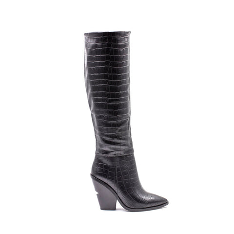 Knee High Croc Print High Cutout Heel Boot