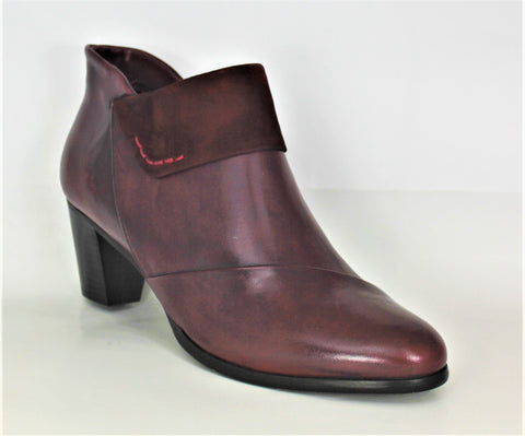 Sonia Mid Heel Ankle Boot With Suede Turnover