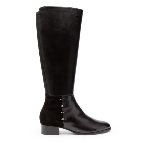 Criston Low Heel Knee High Boot With Metal Trim