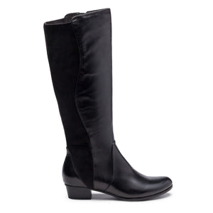 Stefany Knee High Leather and Stretch Low Heel Boot