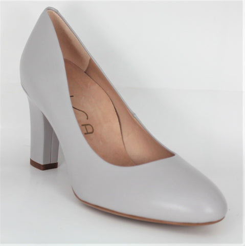 Umis High Heel Stone Leather Court Shoe