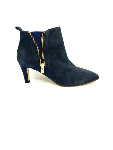 Janet Suede Ankle Boot With Zip Trim