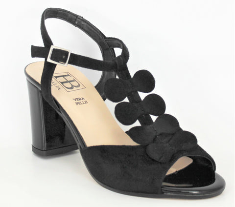 High Block Patent Heel Sandal With Bow Trim