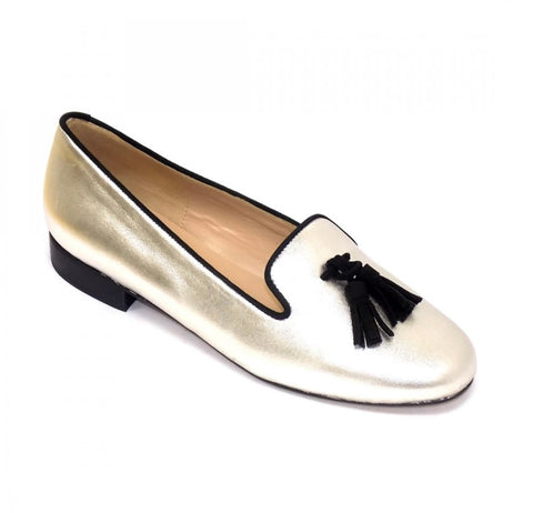 HB Shoes Clover Silver Metallic Tassle Flat Shoe