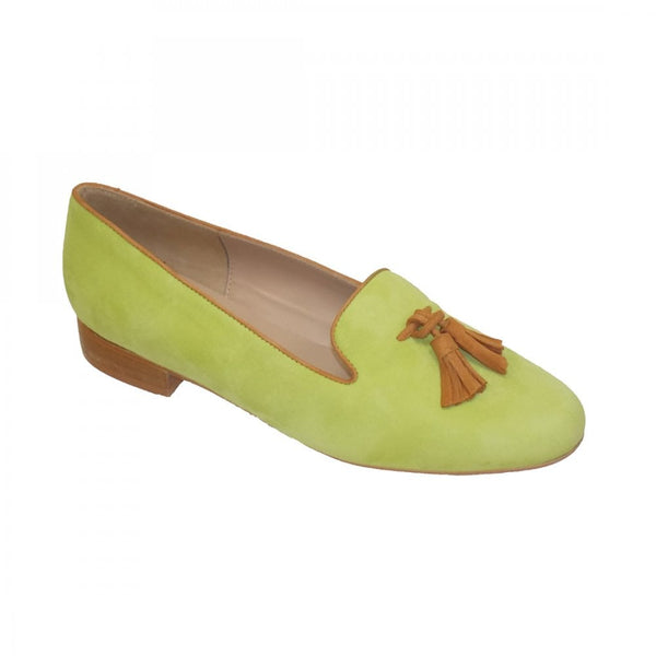 HB Shoes Clover Lime Suede Tassel Tab Shoe