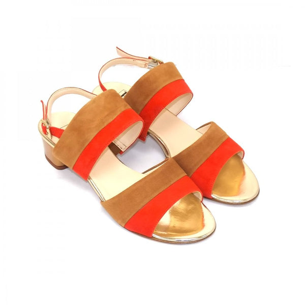 HB Shoes Italia Sandal Orange Tan Combo