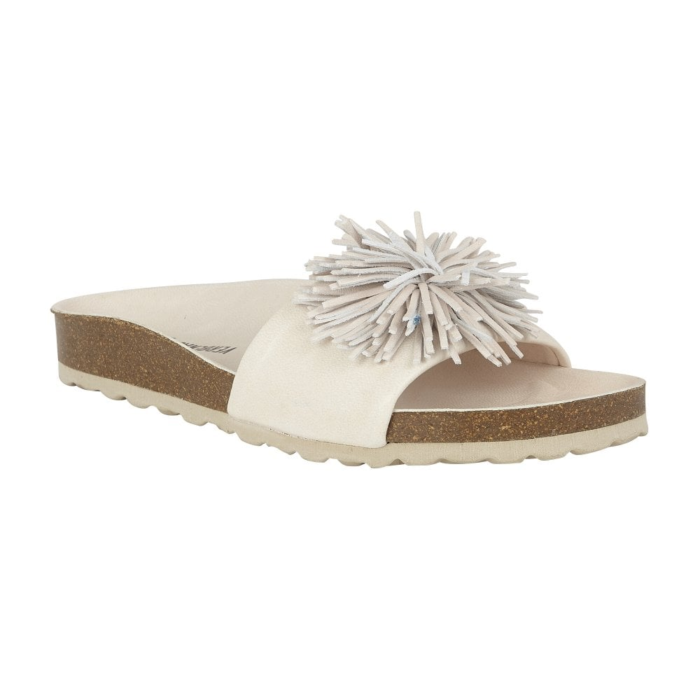 Verbena Ladies Nude Reina Ecobrush Flecos Slider With Pom Pom Trim
