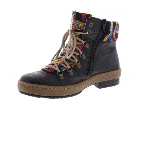 Rieker Ladies Lace Up Ankle Boot Black