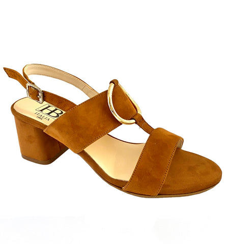 HB Italia Ladies Block Heeled Sandal TanSuede