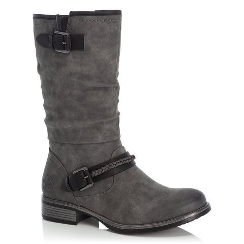Rieker Ladies Mid Calf Boot Grey