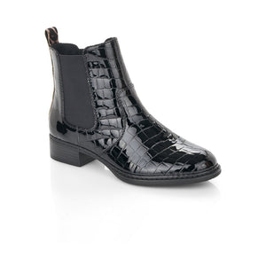 Rieker Ladies Elastic Sided Flat Boot Black