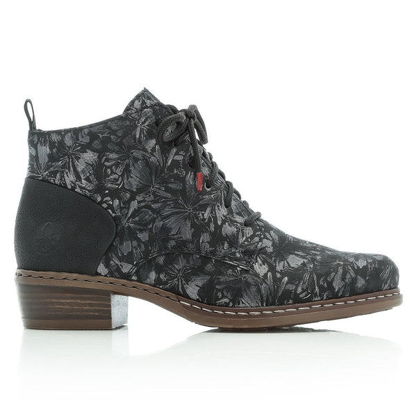 Rieker Ladies Lace Up Ankle Boot Metallic Floral Print