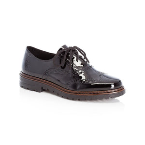 Rieker Ladies lace Up Brogue Shoe Black Patent