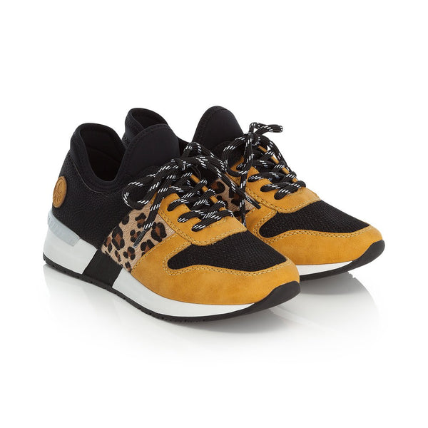 Rieker Ladies lace Up Sneaker Mustard