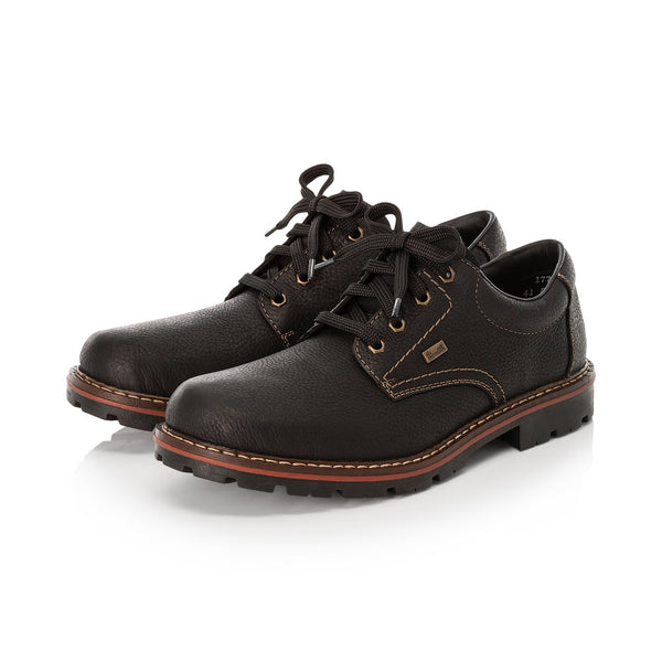 Rieker Mens Lace Up Black Grain Leather