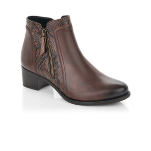 Remonte Ladies Zip Ankle Boot Mid Heel