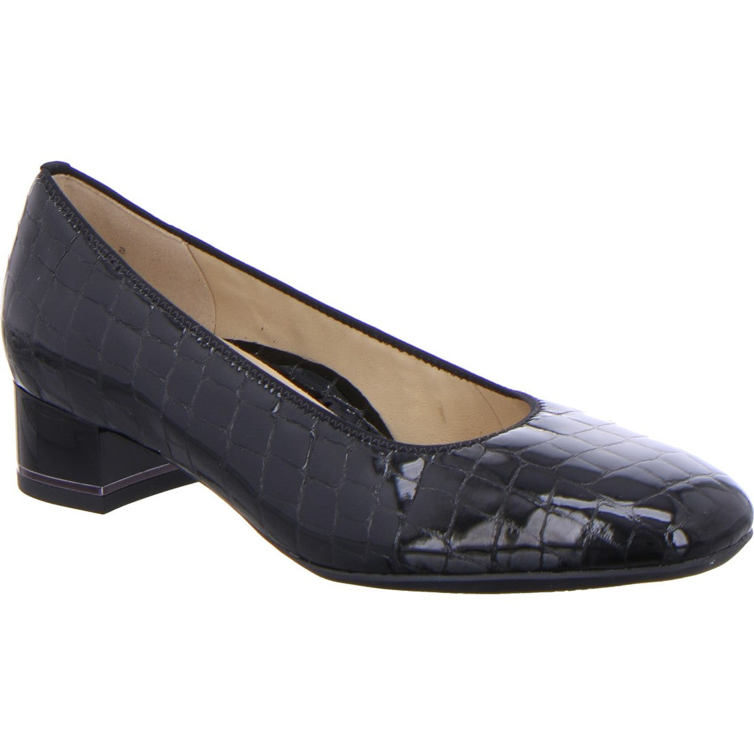 Ara Ladies Low Heeled Court Black Croco