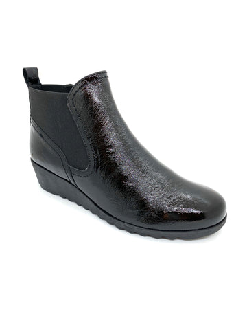 Caprice Ladies Wedge Ankle Boot Black Patent