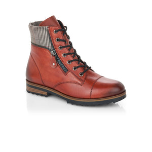 Remonte ladies Lace Up Hiker Boot Rust Leather