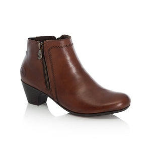 Rieker Ladies Zip Detail Tan Ankle Boot