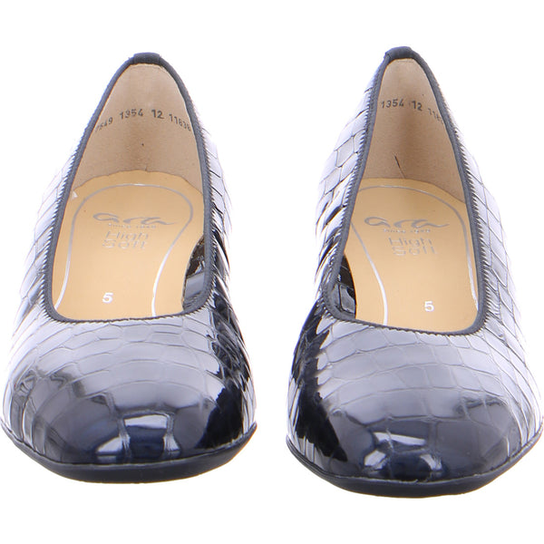Ara Ladies Croco Court Shoe Navy