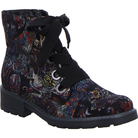 Ara Ladies Lace Up Chunky Sole Boot Oriental Print