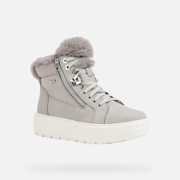 Geox Ladies Kaula Chunky Lace Up Boot Light Grey