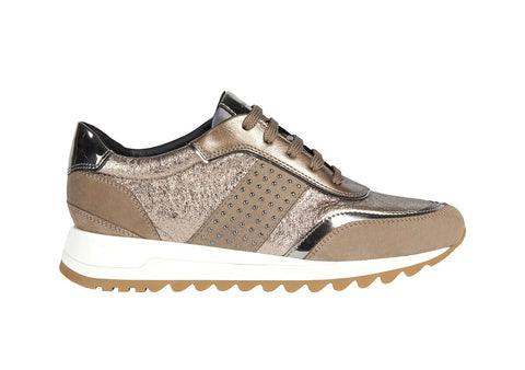 Geox Ladies Tabelya Lace Up Sneaker Bronze