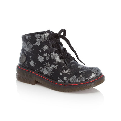 Rieker Ladies Floral Lace Up Ankle Boot