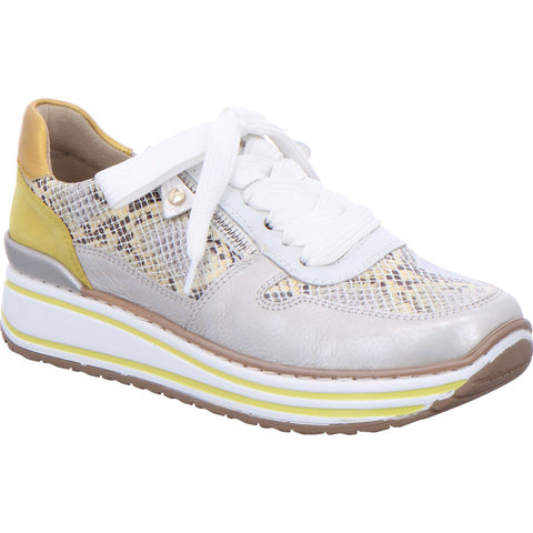 Ara ladies Sapporo Double Sole Lace Up Sneaker White Gold