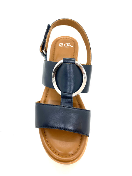 Ara Ladies Flatform Navy leather Sling Back Sandal