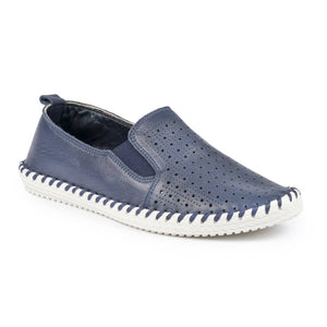 Lunar ladies Queenie Slip On Leather Plimsole