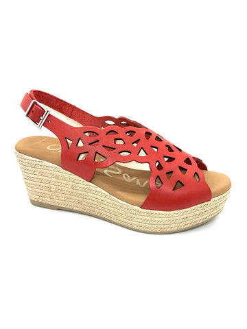 Oh! My Sandals Cross Over Wedge Sling Back Sandal