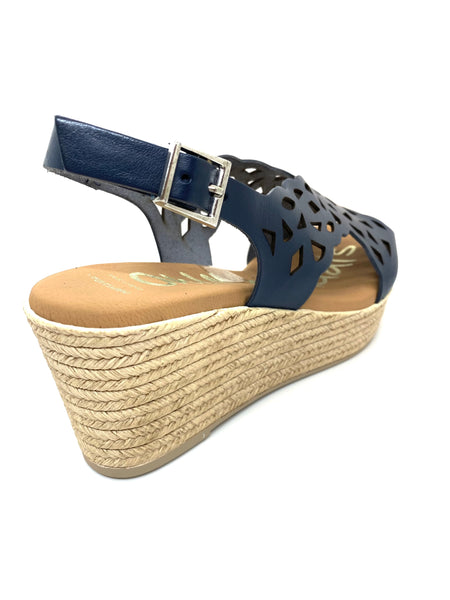 Oh! My Sandals Laser Cut Wedge Heel Sandal