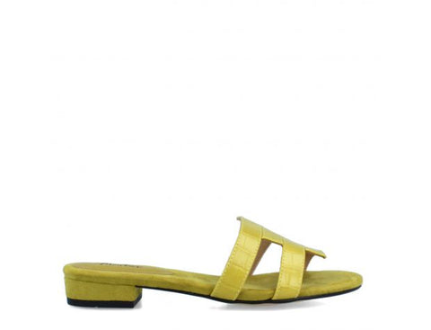 Menbur Ladies Mule Sandal Lime Croco