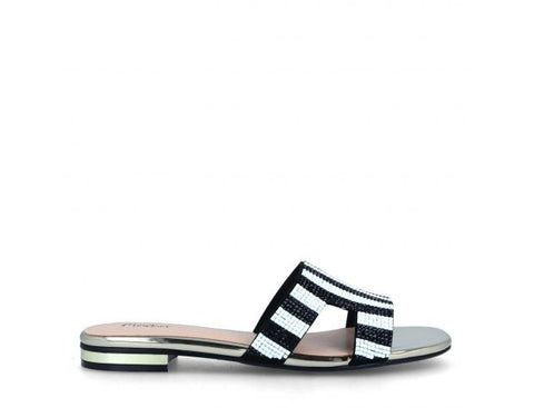 Menbur Ladies Mule Sandal Black White