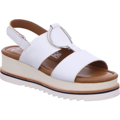 Ara ladies Flat form White leather Sling back Sandal