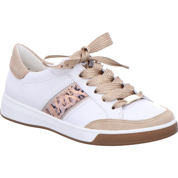 Ara Ladies Rom Lace Up Sneaker White Metalic