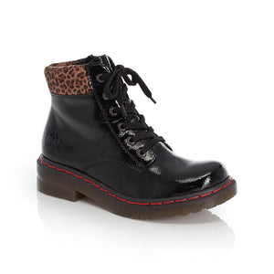 Rieker Ladies lace Up ankle Boot Black Patent