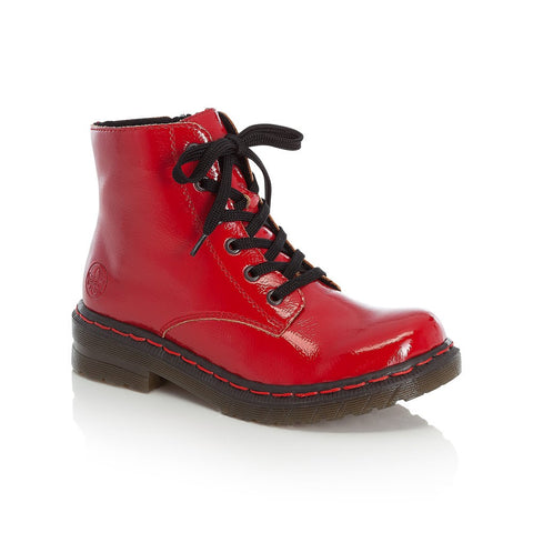 Rieker Ladies Patent Lace Up Boot Red