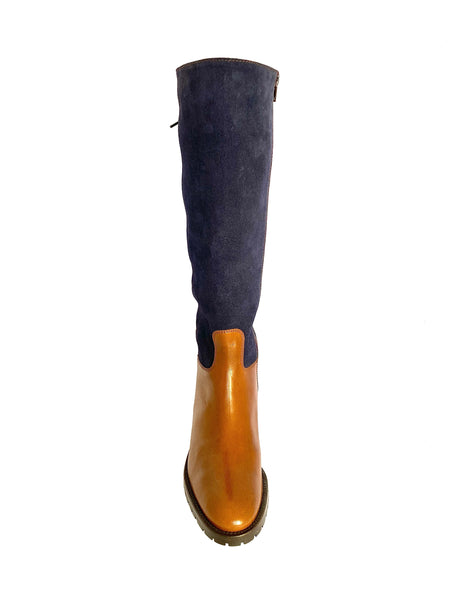 HB Shoes Ladies 1028 cuero Low Heel Knee High Boot