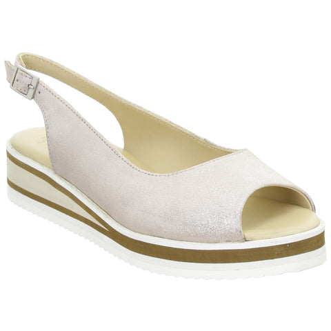 Ara Ladies Durban Peep Toe Sling Back Flat Shoe