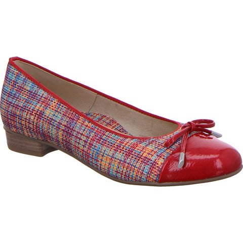 Ara ladies Pump shoe Red Check