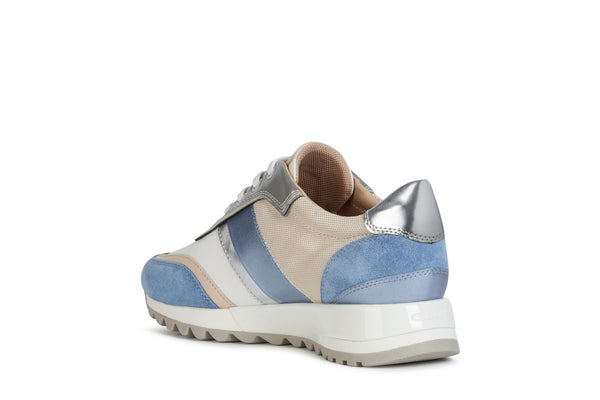 Geox Ladies Tabelya Blue Beige Lace Up Sneaker