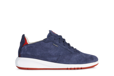 Geox  Aerantis Blue Nubuck Ladies Lace Up Casual Sneaker