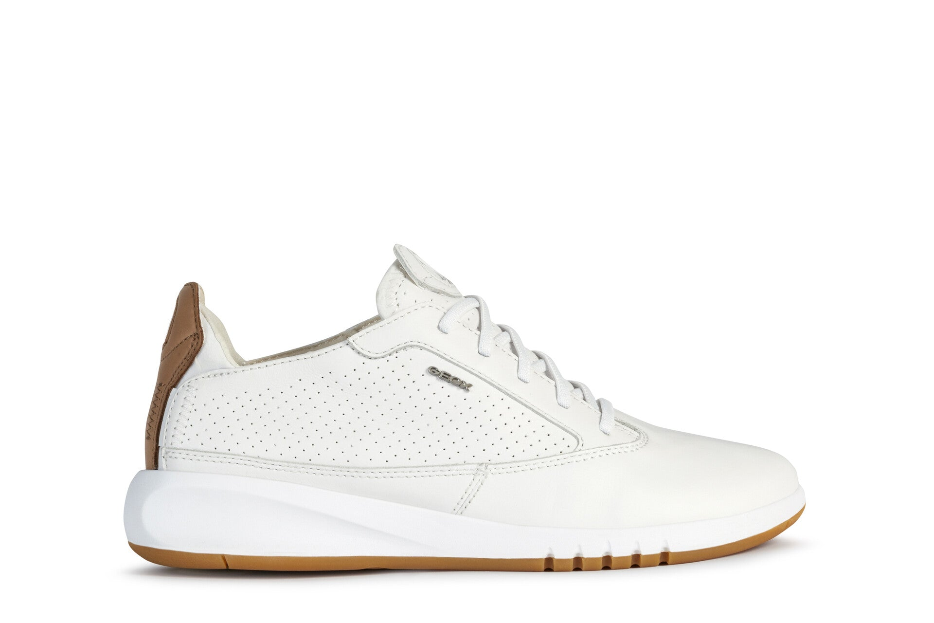 Geox Aerantis Ladies White Leather Casual Lace Up Sneaker