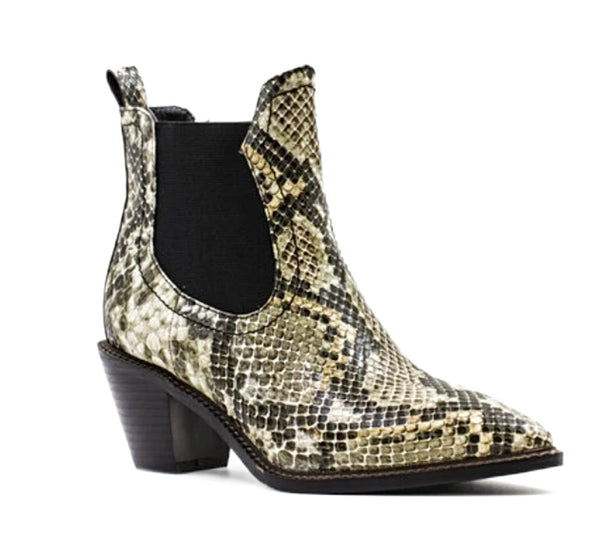 Western Style Pull On Snake Print Ankle Boot